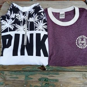 PINK Palms Pullover Sweatshirt and A Tee Bundle